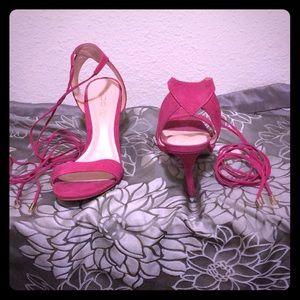 Pink Suede Aldo Strappy Heels